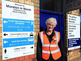 Station manager Teresa Ceesay with one of the signs in Japanese yesterday.