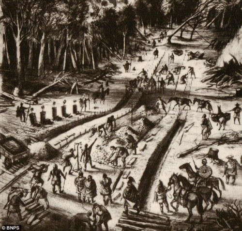Artist's impression: The Roman road being built in the Dorset forest 1,900 years ago