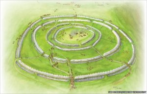 A reconstruction of the Whitehawk causewayed enclosure in the South Downs, Sussex