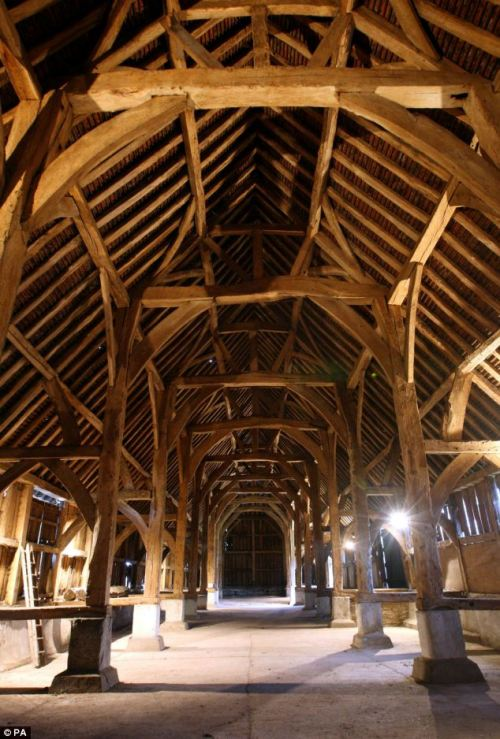 Historic: The exquisite oak structure was created by skilled carpenters, whose signature marks can still be seen, in the 15th Century