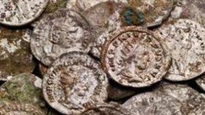 The coins were found close to the Roman Baths