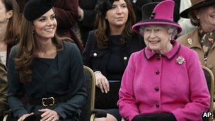The Queen and the Duchess of Cambridge are all smiles on a visit to De Mont fort University in Leicester, at the start of the Jubilee tour