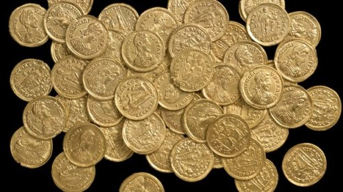 The stash - found on private land north of St Albans - is believed to be one of the largest Roman gold coin hoards discovered in the UK.
